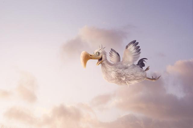 Dodo heureux volant pour souhaiter la bonne annee 2020